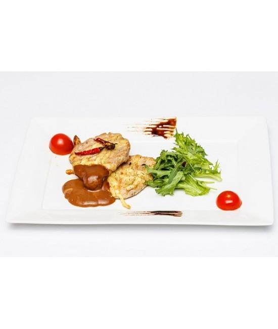 Горячее из свинины - Свиная отбивная с острым соусом