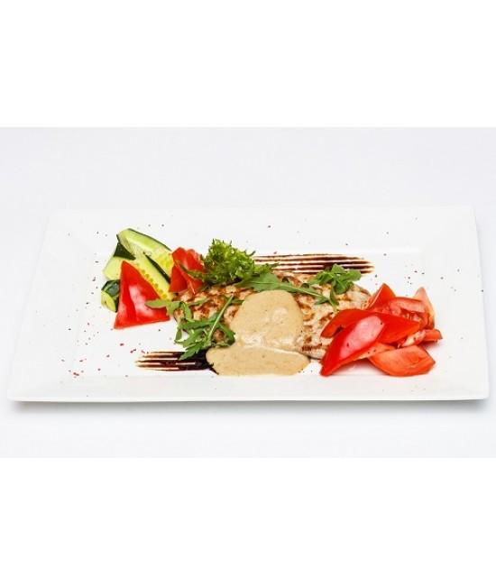 Горячее из свинины - Эскалоп со свежими овощами